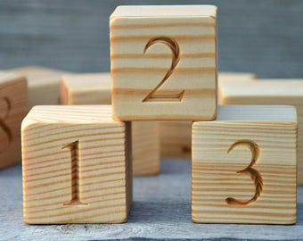 2 Inches Large 0 to 9 Wood Number Blocks Handmade Wooden Toy Blocks Numbered 0 to 9, Number Blocks, Christmas Baby Shower Gift