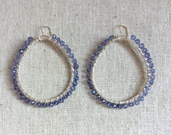 Silver hoop statement earrings with iolite gemstones