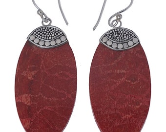 Coral earrings oval points pattern 925 Sterling Silver earrings coral ladies jewelry (No. OK-75)