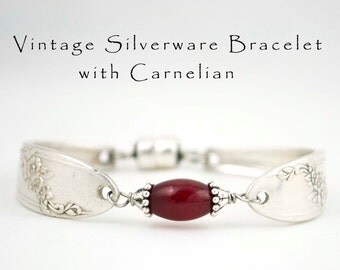 Spoon Bracelet with Carnelian Vintage Silverware Handle Bridesmaid Jewelry Queen Bess, Gifts for Her, Floral Silverware, Gifts Under 40