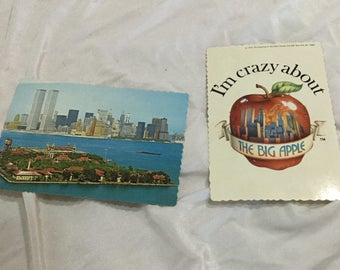 New York City set of 2 Postcards mid 70's Ellis island  World Trade center Big Apple Unused