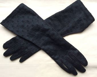 Vintage size M long 60s gloves. Black embroidered nylon, fully lined.