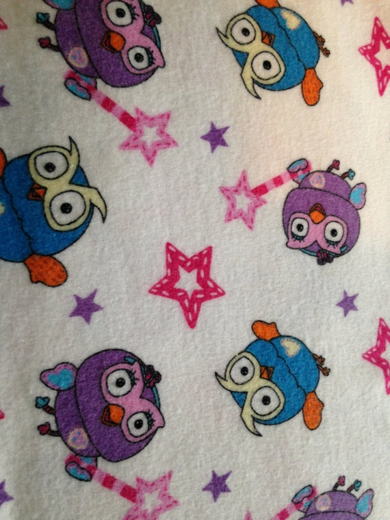 Waterproof Bed Pads/Training Pads/Incontinence Pads - White with purple & turquoise Owls, and pink stars