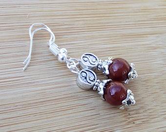 Protecting Carnelian Semi Precious Gemstones Tibetan Silver Bespoke Hook Earrings 42 mm drop