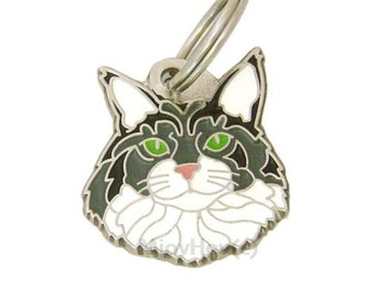 Personalised, stainless steel, Pet ID tag, MjavHov, Maine Coon cat