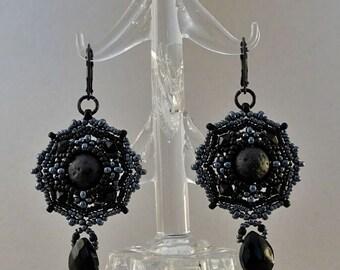 Lava Earrings//Black//Hematite//Bead-Woven//Free Shipping
