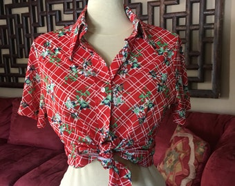 1970s Red Plaid Floral Blouse