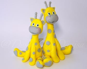 Hand Made  Set of Two Giraffe Cake Toppers Customised Christening Cake Toppers Personalised Birthday Cake Toppers Giraffes Cake Toppers