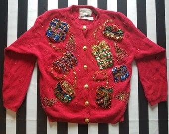 Ugly Tacky Christmas Sweater Angora Sequin Christmas Gifts Marisa Christina Party
