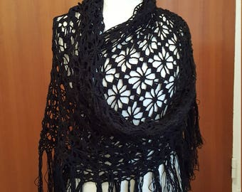 Black vintage shawl crochet