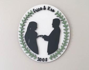wedding couple silhouette wedding gift silhouette art new couple gift anniversary gift birthday