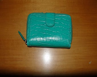 Green Croco Embossed Leather WalletBe Dimo Gear Credit Card Mini Wallet Id Holder w/ zip side gusset pocket