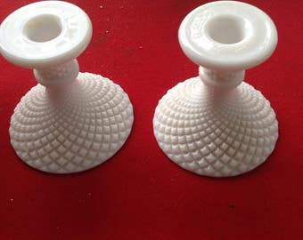 Vintage Milk Glass Hobnail taper candle holders