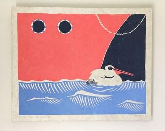 Original linocut from childrenbook cover