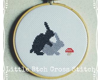 Happy Bunny Cross Stitch Hoop, Rabbit Cross Stitch, Cross Stitch Decor