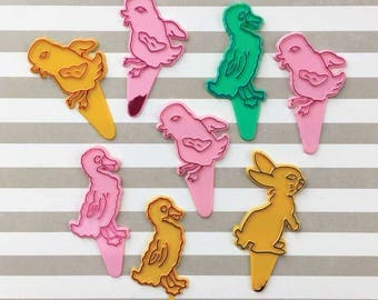 Vintage Easter Cake Picks, Bird Picks, Plastic Cake Toppers, Easter Bunny – Duck – Chicks, Easter Cupcake Decorations, Easter Collectible