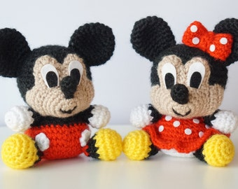 Pack 2 in 1 - Mickey Mouse and Minnie Mouse Disney Amigurumi Pattern Baby DIY PDF Easy Crochet Tutorial