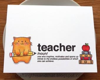 teacher card // teacher appreciation card // end of year teacher card // teacher thank you card // giftcard holder for teacher // cat card