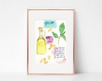 Pesto Print - Pesto Recipe Print - Recipe Illustration - Food Illustration - Basil Print - Olive Oil Print - Watercolor Kitchen Decor