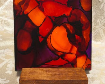 recycle, tile, fire, abstract, gift, unique, alcohol ink, decorative, decoration, orange, red, stand, fired, one of a kind, friend