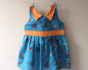 Outer space dress, space rocket dress, moon dress, collar dress, rocket print, rocket gift, girls party dress, baby dress