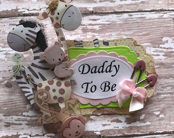 Safari Animal Daddy To Be Corsage Badge Orange & Apple Green Safari Jungle Theme Daddy To Be Corsage Badge