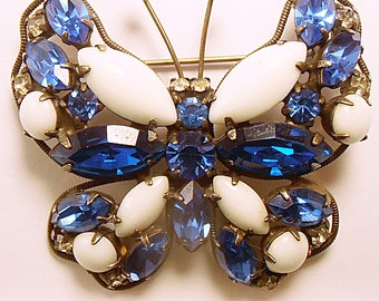 1 Vintage La Roco Designed Butterfly Brooch with Milkglass & BLUE Rhinestones set in Japanned metal 1950's glamor pin  (b51717)