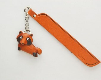 Racoon dog Leather Charm Bookmark/Bookmarks/Bookmarker *VANCA* Made in Japan #61218 Free Shipping