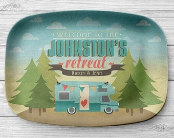 Personalized Motorhome Platter, Personalized Melamine Pine Tree RV Camper Serving Platter, Camping Platter, Camping Decor, RV Decor