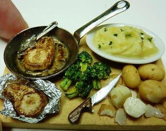 Dolls House Food Dollhouse Miniature Pork Chop Prep Dinner (Handmade) IGMA Artisan
