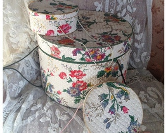 Gorgeous trio of antique hand block textured paper covered boxes~ large hat box and two smaller coordinating boxes~ so pretty display