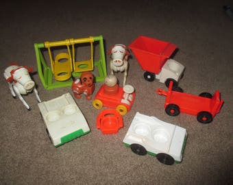 Vintage Fisher Price Little People Animals Cars