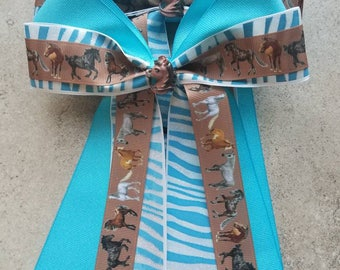 HORSE SHOW BOWS-  Set of bows for equestrian shows.  Grosgrain ribbon, hand painted resin center attached to elastic.