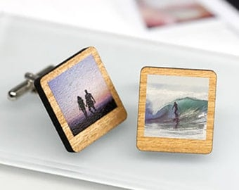 Polaroid Photo Cuff Links, Retro Gift, Cufflinks With Photos, Custom Cufflinks, Gift For Him, Personalised Wooden Polaroid Cufflinks
