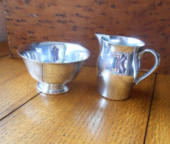 Paul Revere Wm Rogers Silver Plate Creamer and Sugar Bowl Set