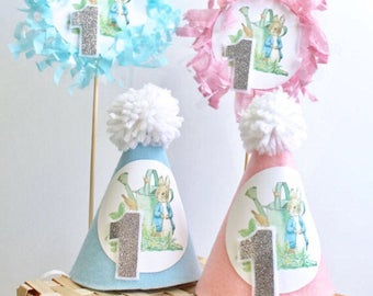 Peter Rabbit Birthday Cake Smash MINI Party Hat in Light Blue or Light Pink w/ Silver Glitter # First Birthday Bunny Party & Cake Topper