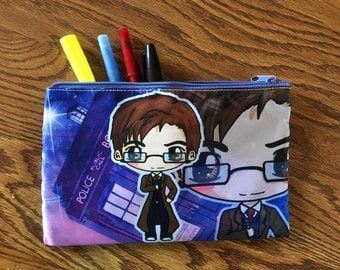Doctor Who Cosmetic Bag - Doctor Who Pencil Bag - Eleventh Doctor - Tenth Doctor - Chibi Doctor Who Bag