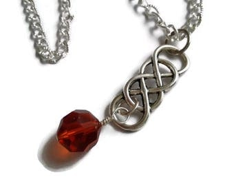"""Clearance Jewelry, Last Chance, 65% Off Double Infinity Pendant with Swarovski Indian Red Crystal on Silver Chain - 18"""" (45.72cm) - NCK065"""
