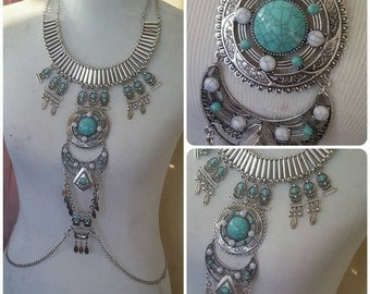 Body Chain Bohemian Tribal Body Harness turquoise and Silver Body Jewelry