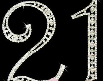 Birthday Cake Topper, 21st Birthday Cake, Rhinestone Cake Topper, Numbers for Cake, 21 Cake Topper, Silver Numbers Cake Topper, Cake Topper