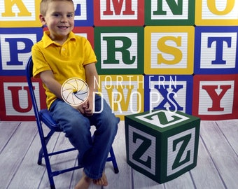 "Photography Backdrop - Alphabet Blocks With Z Block Prop - 3 & 5ft include 3 sided ""Z"" block prop - ABC block photo backdrop"