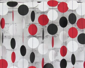 Red Black and White Paper Garland - Red and Black Garland - Black and Red Circle Garland for Birthday