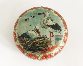 1900s Antique Art Nouveau German Candy Tin Candy Box Mints Tin Collectible Tins Cans Stork Storks Baby Shower Gift