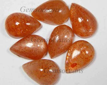 10 Pieces Lot Natural Sunstone Pear Shape Smooth Polished Loose Gemstone Cabochon