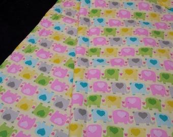 Baby Quilt:  Pastel Elephants on Yellow