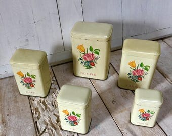 Set of 5 Stacking French Vintage Storage Canisters