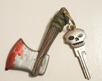 Bloody Axe Key Chain - Hatchet Keychain - Evil Weapon Zipper Pulls - Halloween Key Chain - Morbid Key Chain - Apocalypse Key Chain