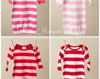 Monogrammed or Appliquéd Valentines Day Baby Infant Gown Pajama Layette Valentine's Day Striped Red Hot Pink White Newborn gift Coming Home
