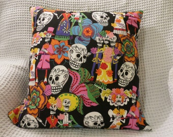 Day of the Dead cushion cover.  Alexander Henry fabric 'Los Novios'.  Hand made.