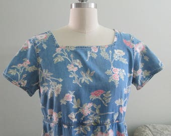 Vintage Liz Claiborne Chambray Denim Floral Dress/Lizwear/Size 10  Circa 1992  #17155